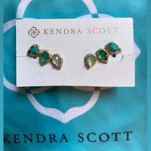 Kendra Scott- 14k three gemstone climbing earrings